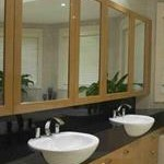 Timber and Mirror Bathroom with stone bench
